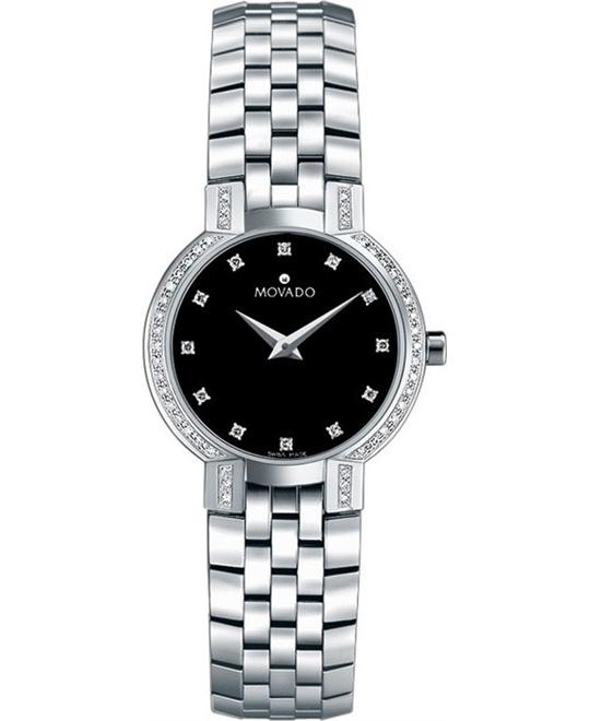 MOVADO Faceto Diamond Steel Ladies Watch 25mm