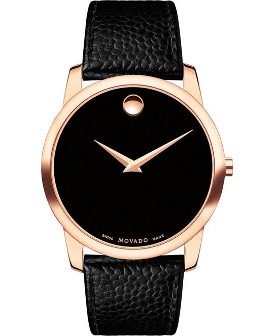 Movado Museum Classic RG PVD Black Leather Men Watch 40mm