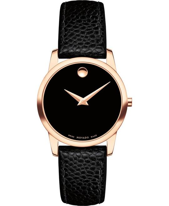 MOVADO MUSEUM CLASSIC RG PVD BLACK LEATHER  WATCH 28MM