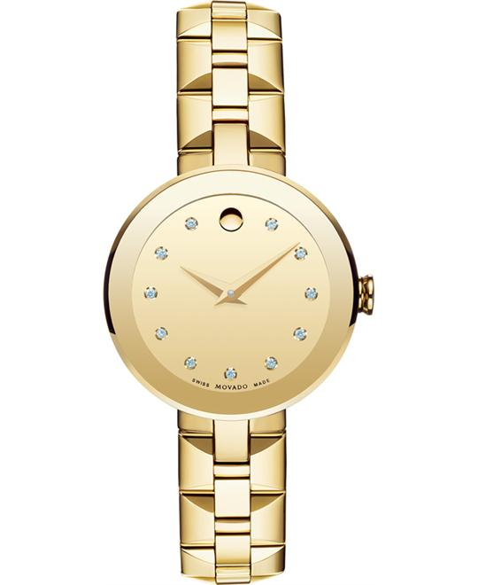 MOVADO Sapphire Dial Gold PVD Ladies Watch 28mm