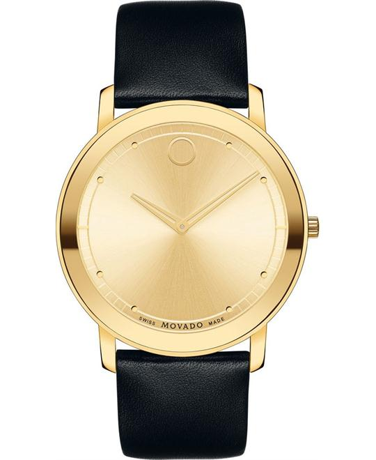 MOVADO Sapphire Gold Leather Watch 40mm