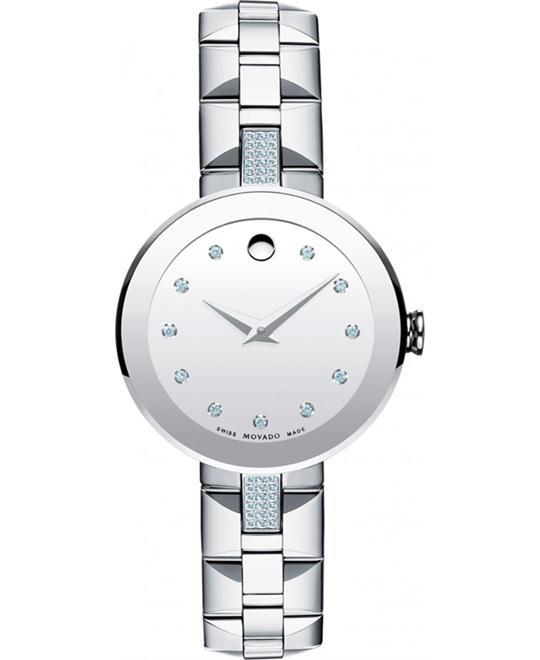 MOVADO Sapphire Silver Diamond Ladies Watch 28mm