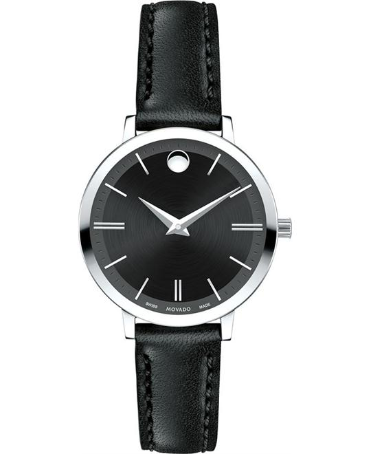 MOVADO Ultra Slim Black Dial Ladies Casual Watch 28mm