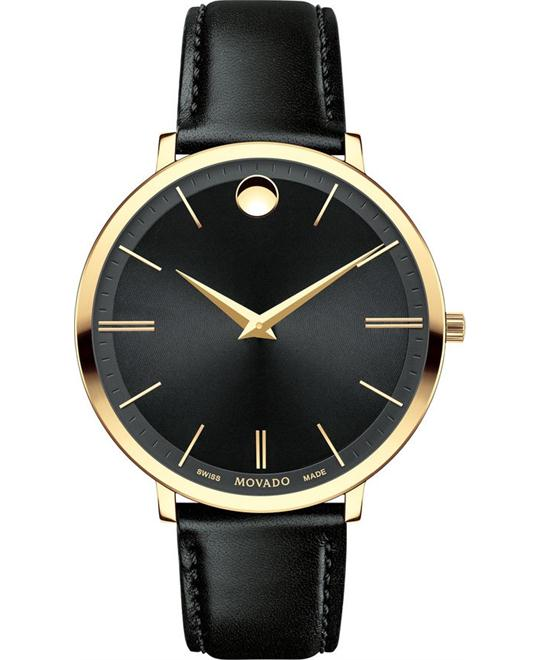 MOVADO Ultra Slim Black Sunray Dial Ladies Watch 35mm