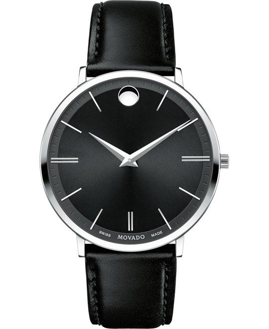 MOVADO Ultra Slim Black Sunray Dial Men's Watch 40mm