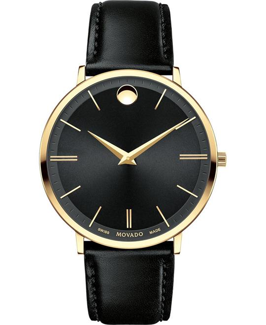 MOVADO Ultra Slim Black Sunray Dial Watch 40mm