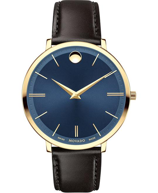 MOVADO Ultra Slim Blue Sunray Dial Ladies Watch 35mm