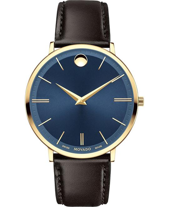MOVADO Ultra Slim Blue Sunray Dial Men's Watch 40mm