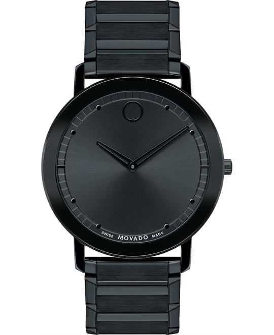 đồng hồ Movado Sapphire Unisex Swiss Black PVD Watch 40mm