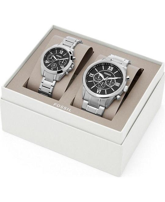 NEW FOSSIL SET OF 2 HIS & HERS SILVER+BLACK 45mm + 35mm