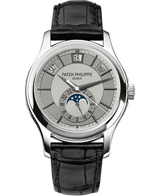 Patek Philippe 18k White Gold Automatic - Silvery Leather 40mm