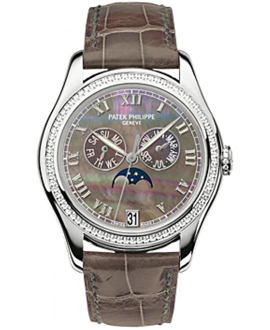 Patek Philippe 18k White Gold Diamond Leather Brown 37mm