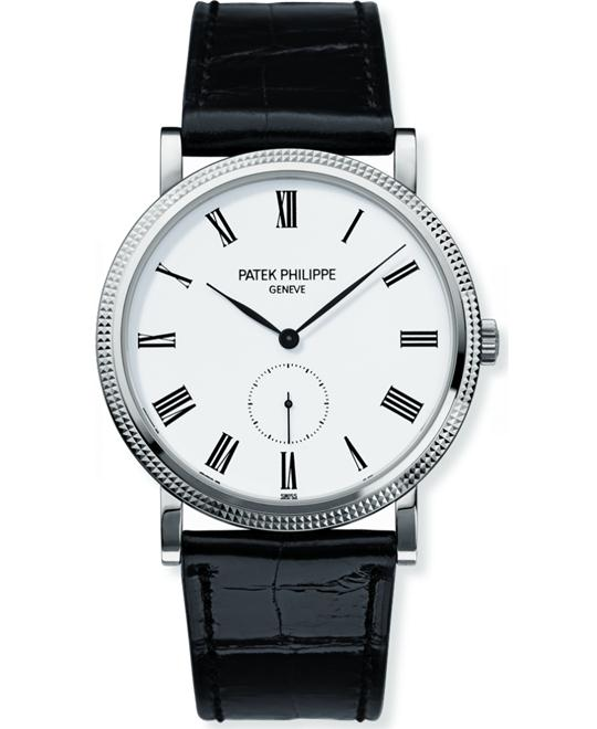 Patek Philippe 18k White Gold Mens Black Leather 36mm