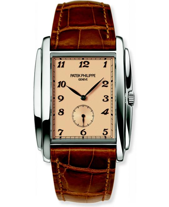 Patek Philippe 18k White Gold Mens Brown Leather 33.4mm x 43mm