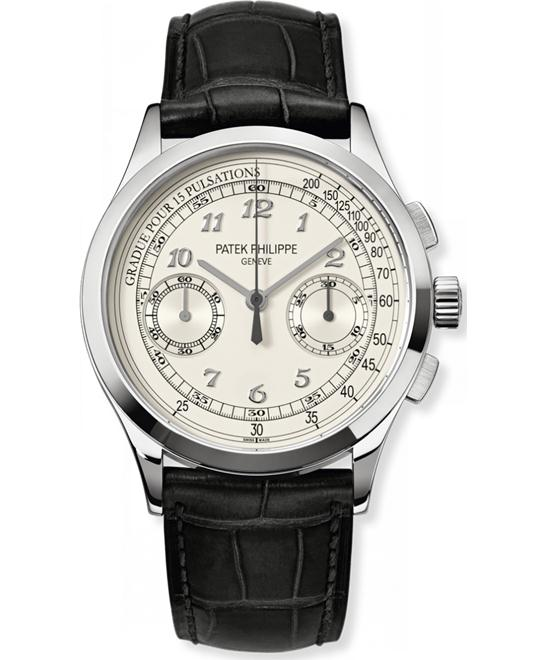 Patek Philippe 18k White Gold Mens Chronograph Leather 39mm