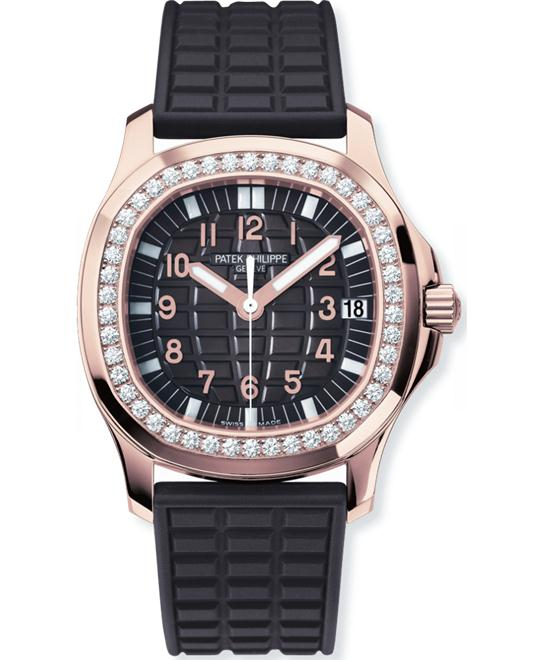 Patek Philippe Ladies 18k Rose Gold Arabic Diamond Rubber 35.2mm