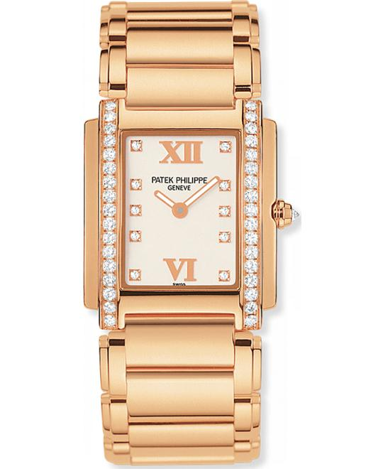 Patek Philippe Ladies 18k Rose Gold Diamonds 22mm x 26.3mm