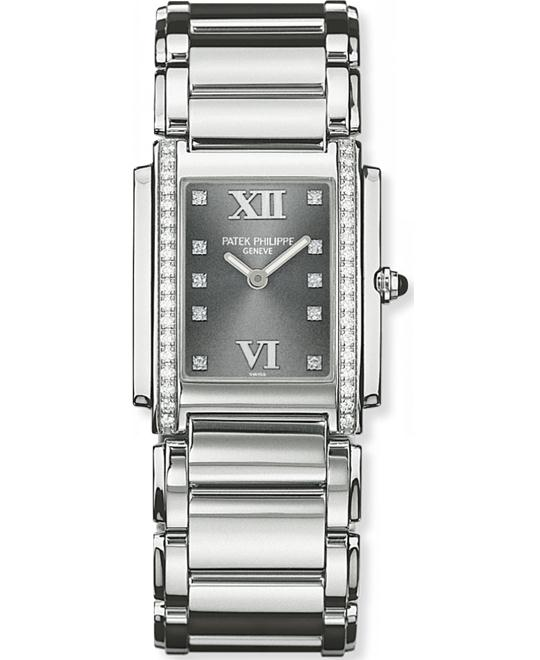 Patek Philippe Ladies Stainless Steel Diamond Folding 25mm x 30mm