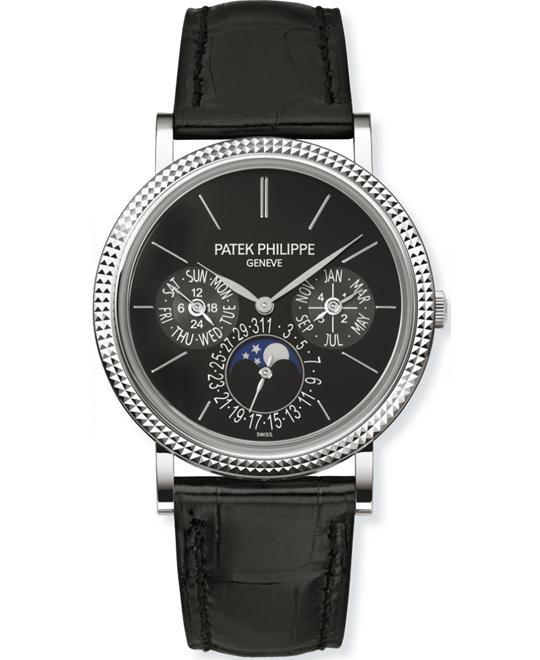 Patek Philippe Men's 18k White Gold Alligator Leather Strap 38mm