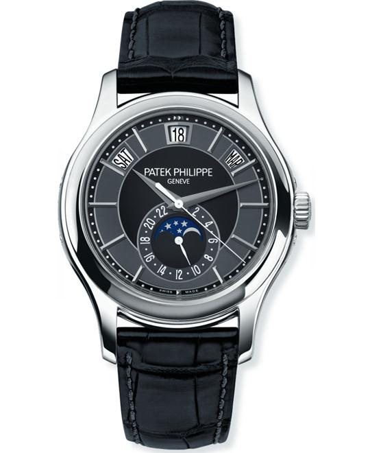 Patek Philippe Men's 18k White Gold Automatic Leather 40mm