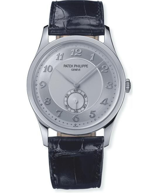 Patek Philippe Men's Automatic Platinum Leather 37mm