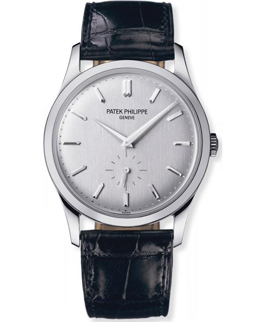 Patek Philippe Men's White Gold  Silver Leather Black 37mm