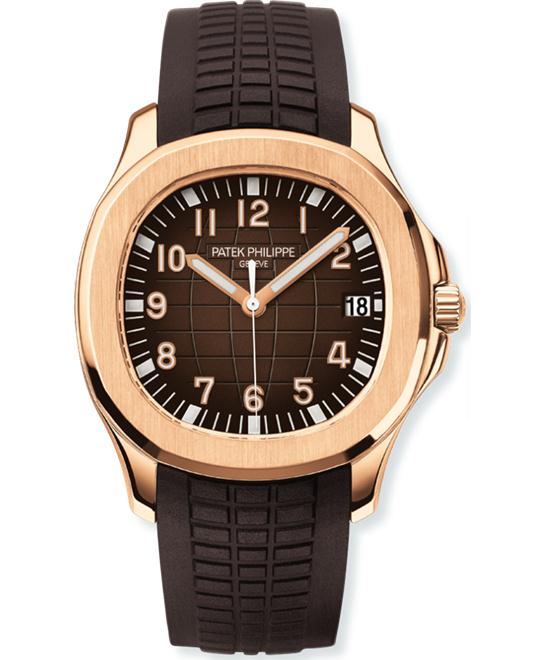 Patek Philippe Mens 18k Rose Gold Arabic Rubber 40mm