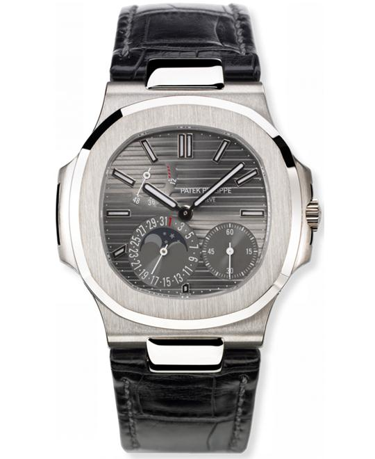 Patek Philippe Mens 18k White Gold Index Folding Leather 40mm