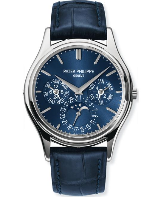 Patek Philippe Mens Platinum Domed Folding Leather Strap 37.2mm