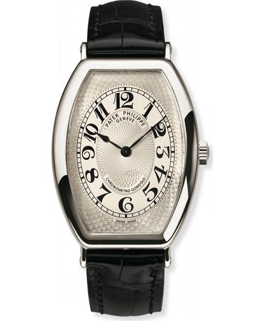 Patek Philippe Platinum Mens Silver Gondolo Leather 32mm x 42mm