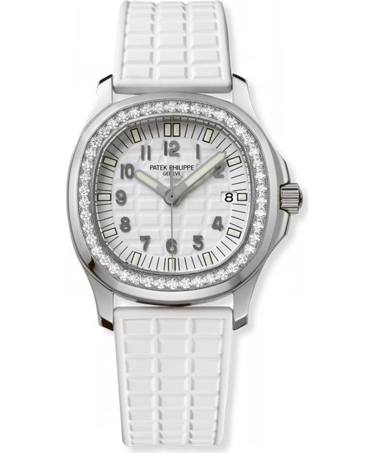 Patek Philippe Stainless Steel Ladies Diamond Arabic Rubber 35.2mm