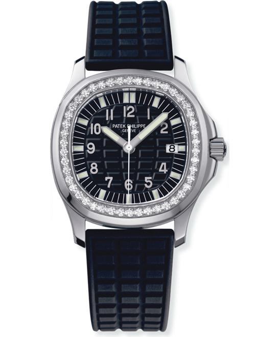 Patek Philippe Stainless Steel Ladies Diamond Rubber 35.2mm