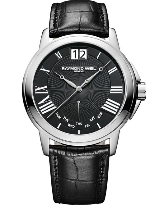 Raymond Weil Tradition Black Leather Watch 42mm