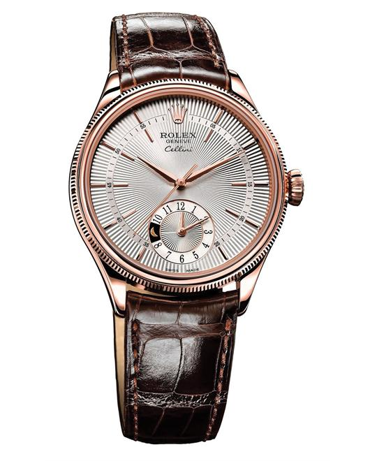 Rolex CELLINI DUAL TIME BROWN LEATHER 50525 SBR, 39MM