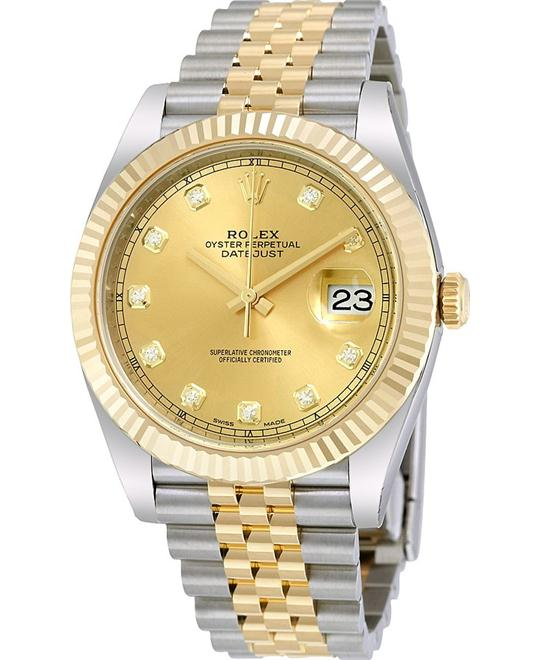 Rolex Datejust 41 Champagne Diamond Jubilee Mens Watch 41mm