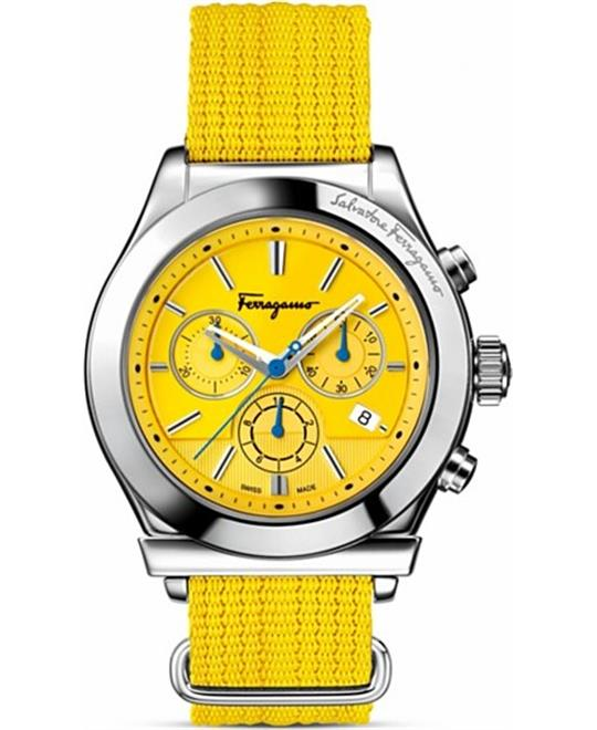 Salvatore Ferragamo 1898 Yellow Canvas Watch 42mm