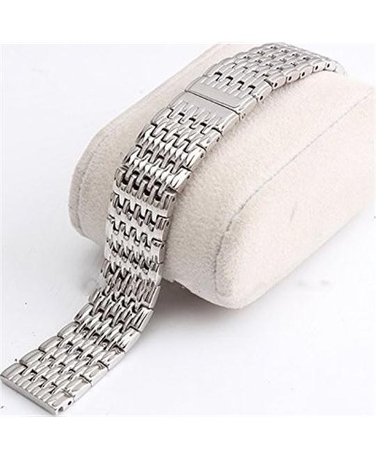Silver Solid Stainless Steel Strap Watch Band for Longines18mm