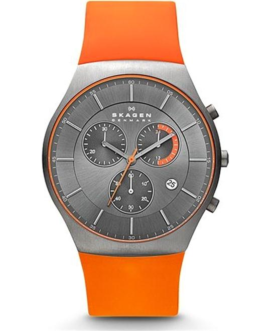 SKAGEN MEN'S CHRONOGRAPH SILICONE TITANIUM WATCH