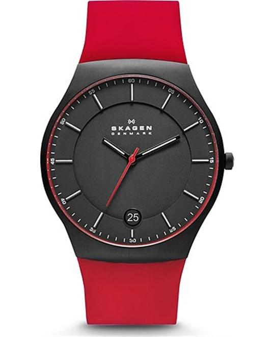 SKAGEN MEN'S SILICONE TITANIUM WATCH