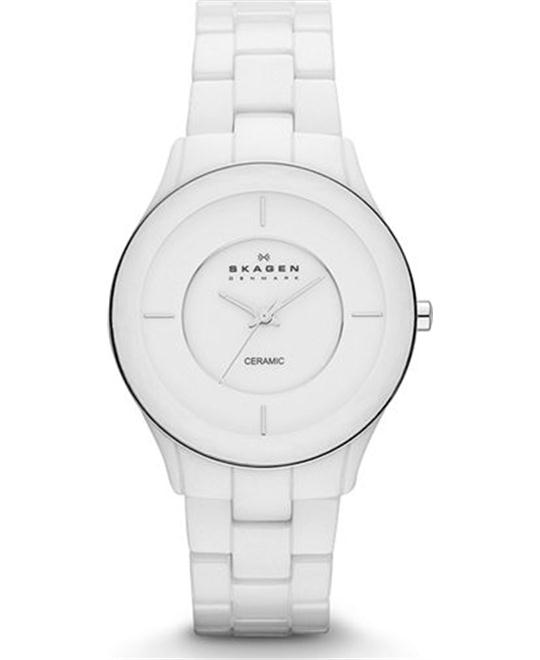 SKAGEN WOMEN'S THREE-HAND CERAMIC WATCH