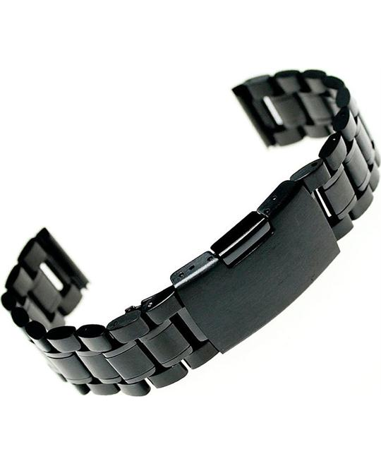 Stainless Steel Bracelet Watch Band Strap Straight Black 24mm