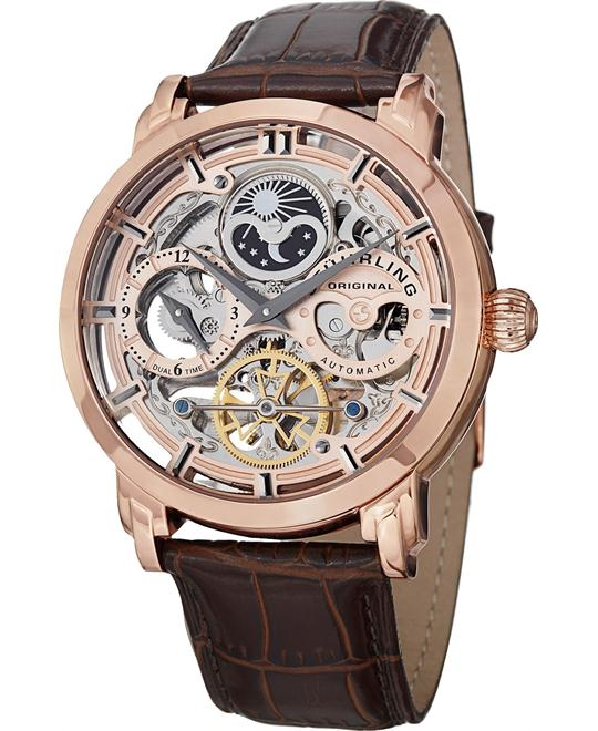 Stuhrling 371.03 Automatic Skeleton Leather Mens Watch 47mm