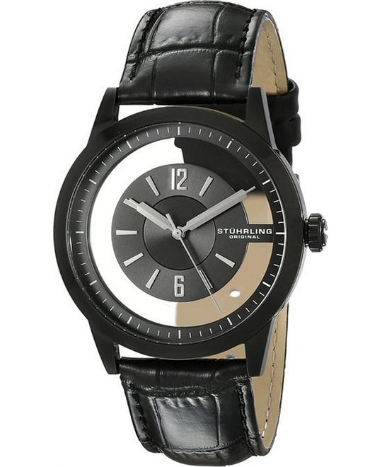 Stuhrling Original Men's 946.03 Black Genuine Leather Band 42mm
