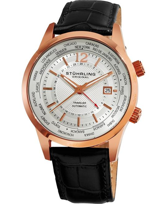 Stuhrling Original Men's Automatic World Time Watch 43mm