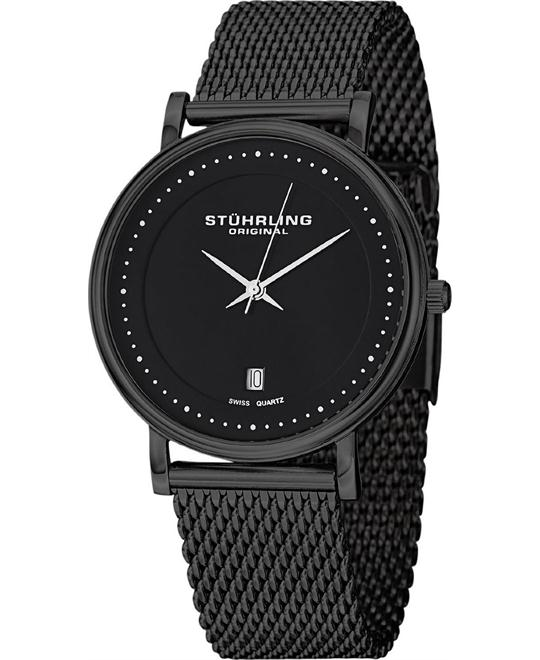 Stuhrling Original Men's Black Stainless Steel Watch 40mm