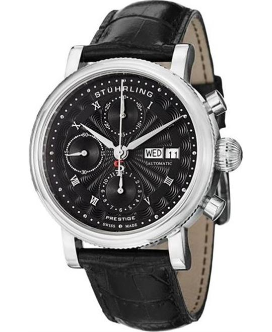 Stuhrling Original Men's Prestige Swiss Automatic Black Watch 40mm