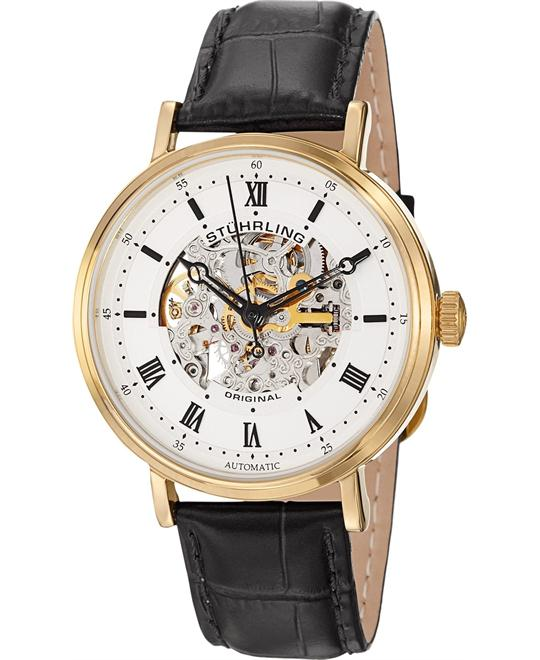 Stuhrling Original Mens Lexington Automatic Skeleton Gold Watch 42mm