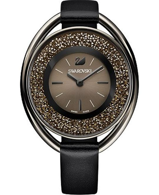 Swarovski Crystalline Oval Black Tone Watch 37MM