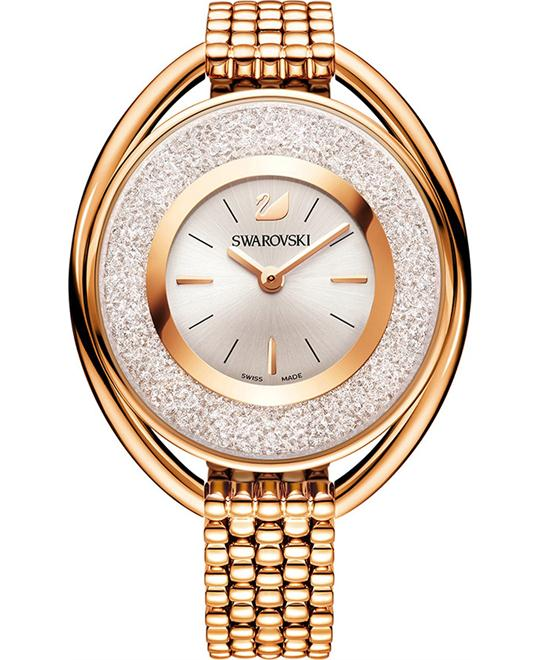 Swarovski Crystalline Oval Rose Gold Tone Bracelet Watch 37×43mm