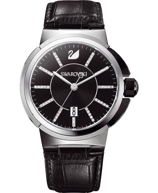 Swarovski  Mens Calfskin Leather Strap Watch 42mm